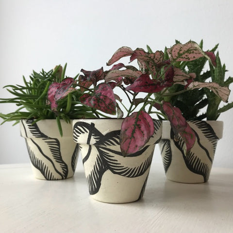Banana Leaf Mini Pots Set of 3 - Palm Pot & Peony