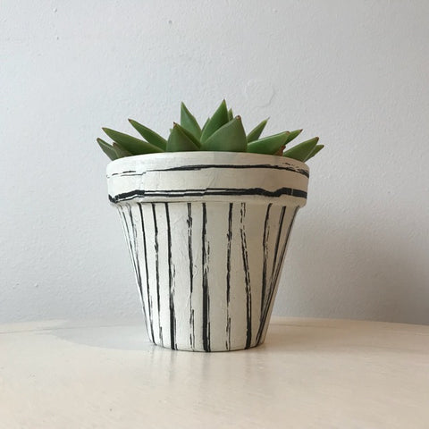 Black Vintage Stripes Terracotta Plant Pot 11cm
