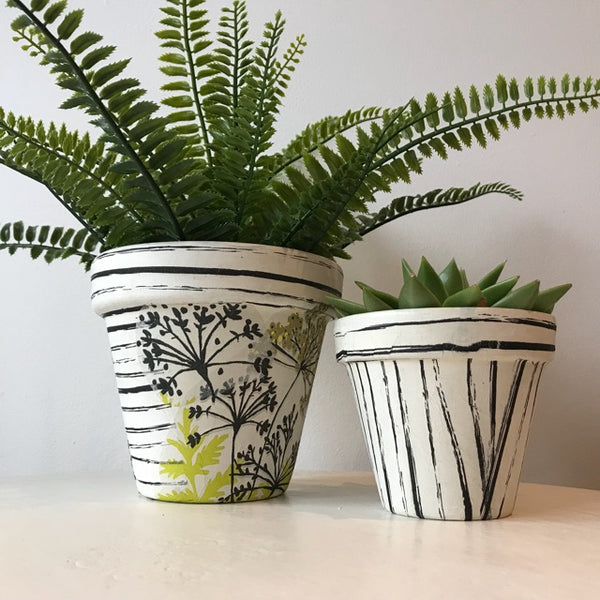 Black Vintage Stripes Plant Pot 11cm