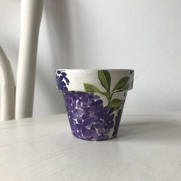 Purple Lilac Flowers Terracotta Mini Pot