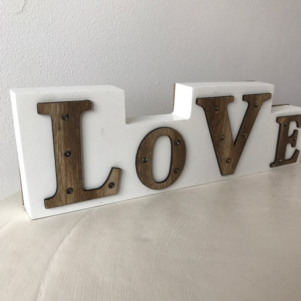 LOVE Sign with LED Lights - Palm Pot & Peony