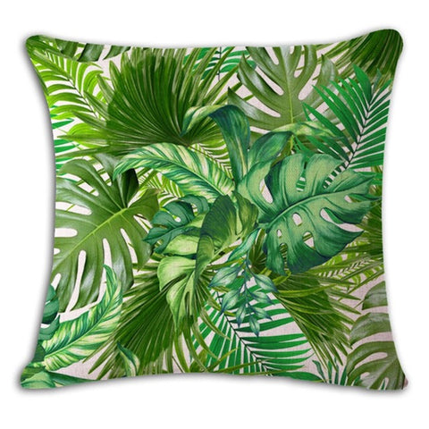 Botanical Palm Leaf Cushion Cover - Palm Pot & Peony