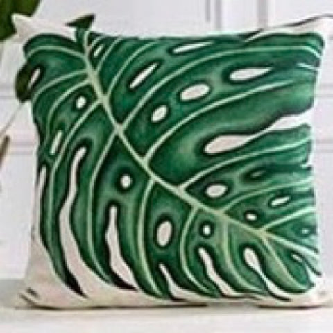 Botanical Green Palm Leaf Cushion Cover - Palm Pot & Peony
