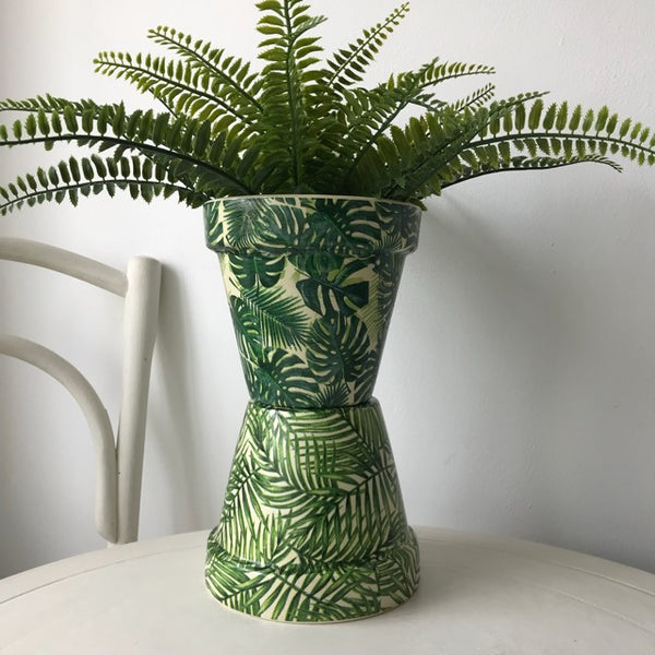 Palm Leaves Terracotta Pot 15cm