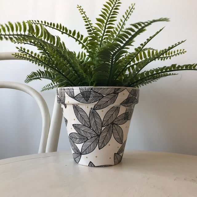 Black Leaves and Gold Spots Medium Plant Pot