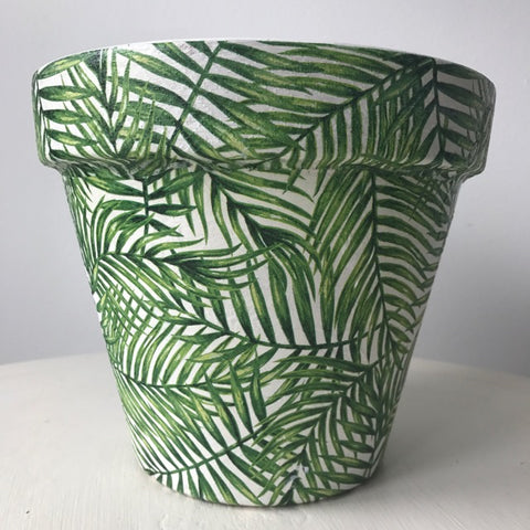 Green Palm Leaf Terracotta Planter Extra Large 27cm - Palm Pot & Peony