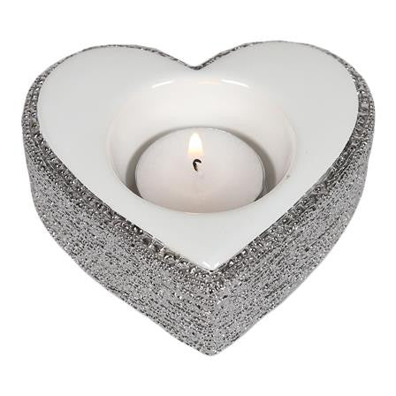 Silver White Heart Tealight Holder