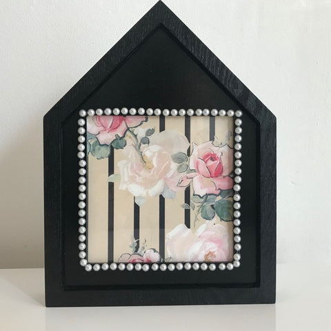 Black Floral & Pearl House Photo Frame