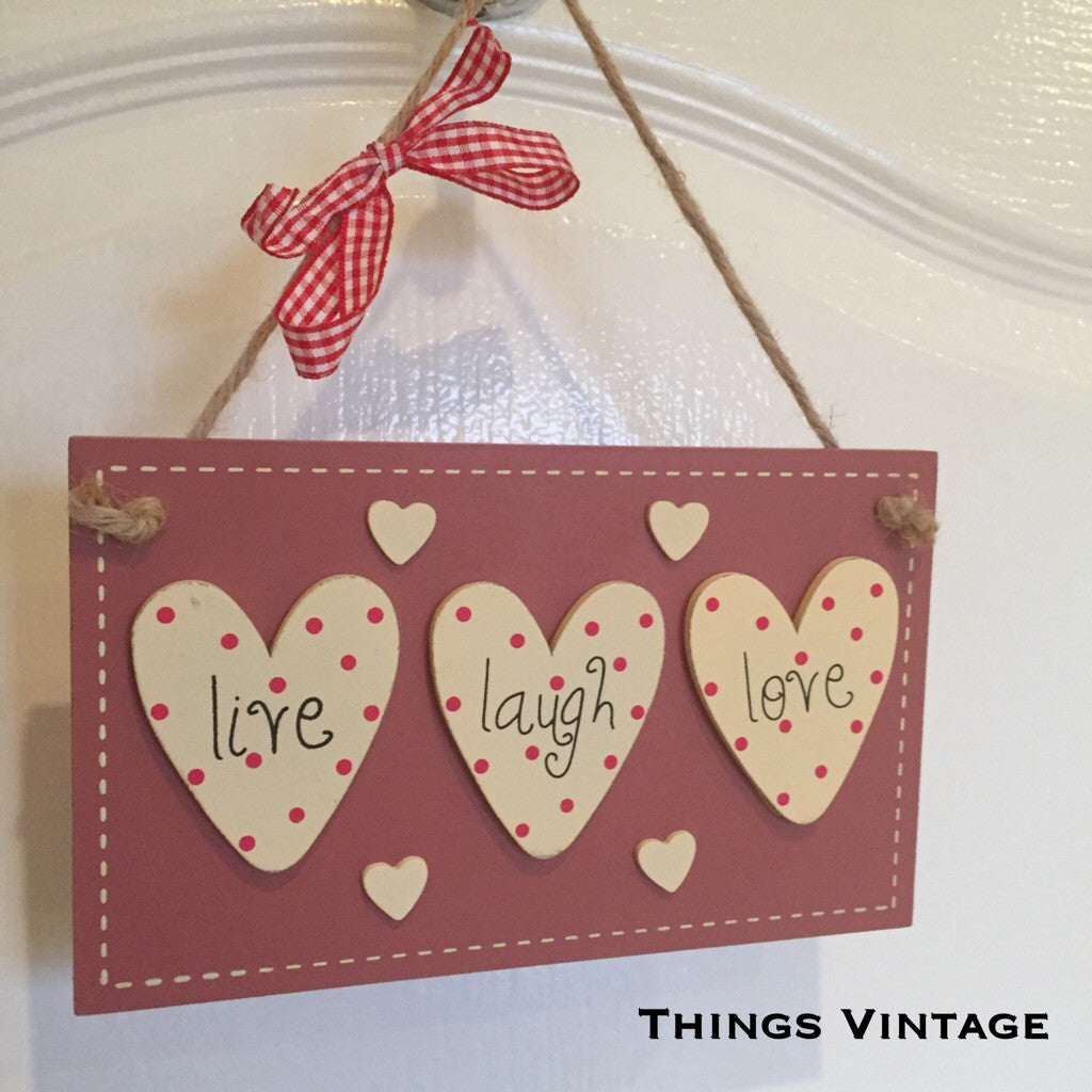 Live Laugh Love Hanging Home Decor Sign - Palm Pot & Peony