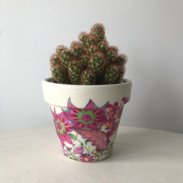 Bright Pink Flower Plant Pot Small