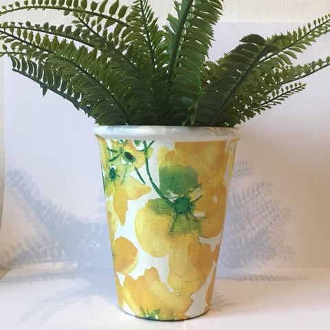 Bright Yellow Flower Plant Pot - Palm Pot & Peony