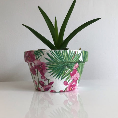 Orchids and Palms Flower Terracotta Pot - Palm Pot & Peony
