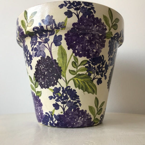 Purple Lilac Flowers Terracotta Plant Pot 21cm