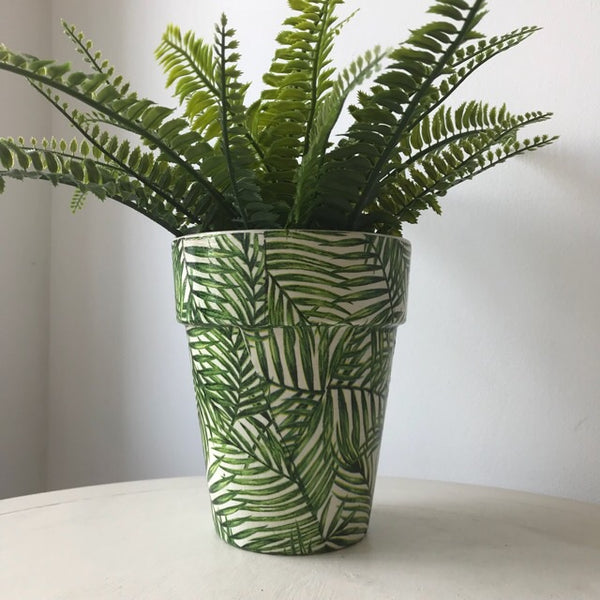 Green Palm Leaf Terracotta Plant Tom Pot Tall 17.5cm - Palm Pot & Peony