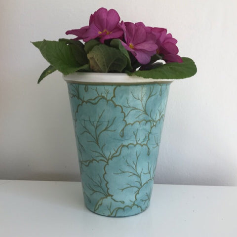 Aqua by the Sea Glamour Tall Plant Pot h17cm - Palm Pot & Peony
