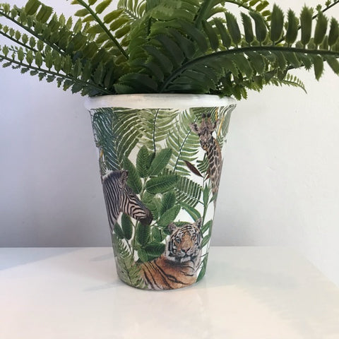 Animal Safari Jungle Plant Pot - Palm Pot & Peony