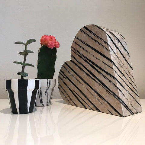 Black Vintage Stripes Wooden Heart Keepsake Box - Palm Pot & Peony