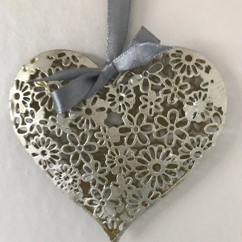 Silver Flower Hanging Heart Decoration