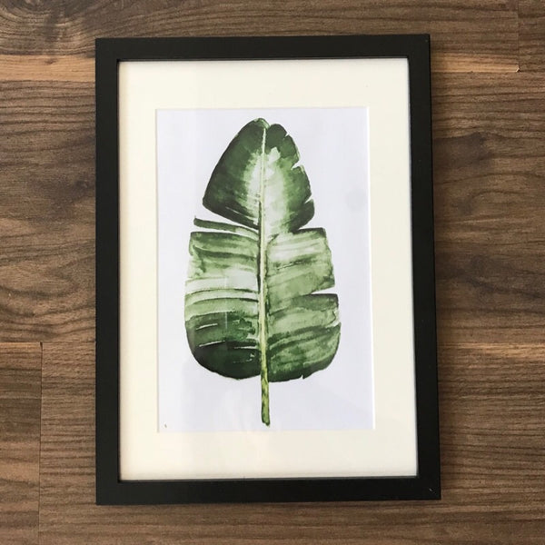Botanical Palm Leaf Print Black Frame A4