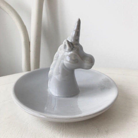 Grey Ceramic Unicorn Ring Holder Dish