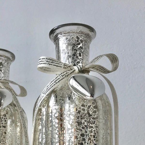Silver Gold Mercury Vintage Glass Bottle Vase