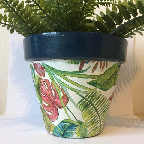 Bright Botanical Palm Leaf Plant Pot 17cm - Palm Pot & Peony