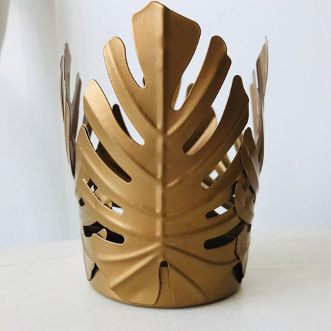 Gold Copper Palm Leaves Tealight Holder