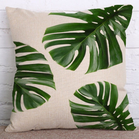 Botanical Green Tropical Leaf Cushion Cover - Palm Pot & Peony