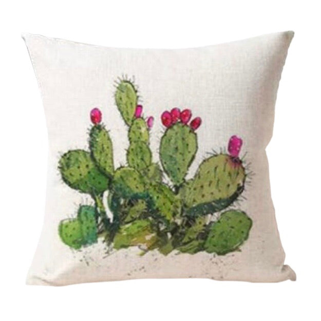 Cactus & Flower Cushion Cover - Palm Pot & Peony