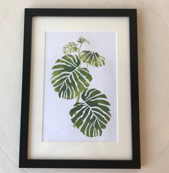 Botanical Green Leaves Print Black Frame A4