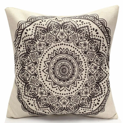 Black Vintage Flower Design Cushion Cover - Palm Pot & Peony