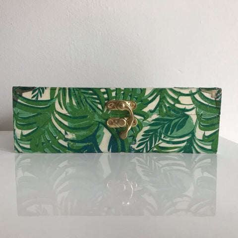 Green Leaf Tropical Wooden Keepsake Box