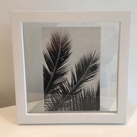 Black White Palm Leaf and Frame - Palm Pot & Peony