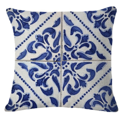 Blue and White Damask Cushion Cover - Palm Pot & Peony