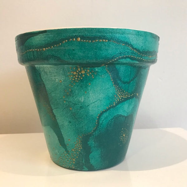Turquoise Under the Sea Plant Pot 15cm - Palm Pot & Peony