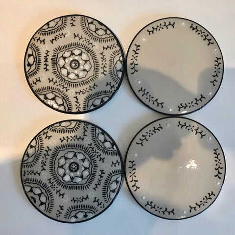 Black White and Grey Coasters - Palm Pot & Peony