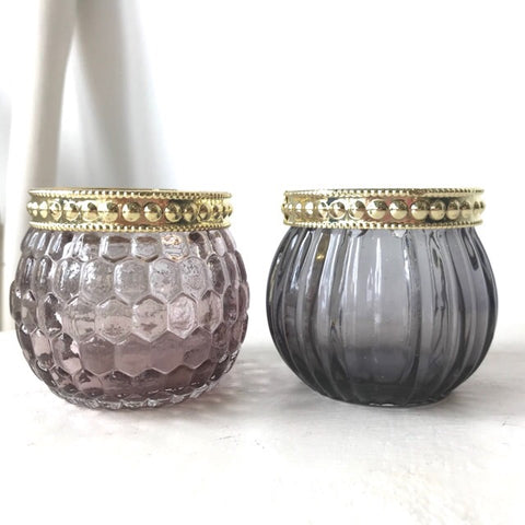 Amethyst Jewel Candle Tealight Holders Set of 2 - Palm Pot & Peony