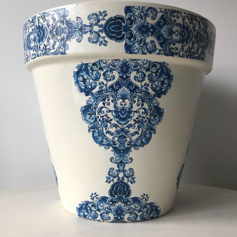 Blue and White Damask Extra Large Planter 27cm - Palm Pot & Peony