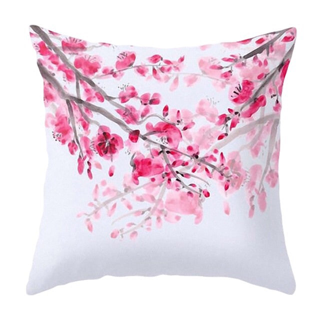 Bright Pink & White Blossom Cushion Cover - Palm Pot & Peony