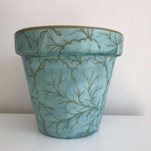 Aqua by the Sea Glamour Large Plant Pot Planter 21cm - Palm Pot & Peony