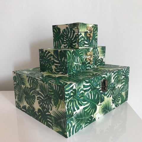 Green Palm Leaves Wooden Keepsake Storage Box Set of 3