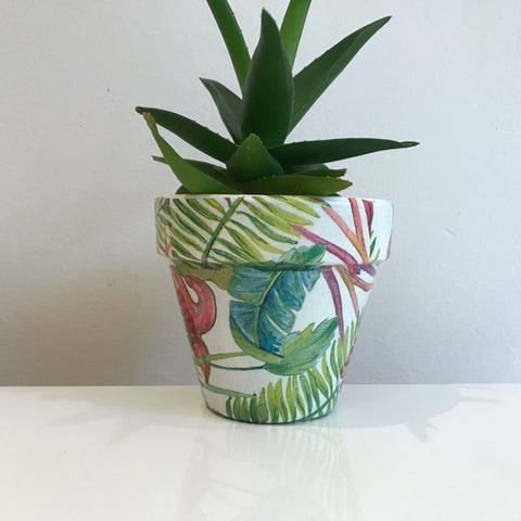 Bright Botanical Palm Leaf Cactus Pot 11cm - Palm Pot & Peony