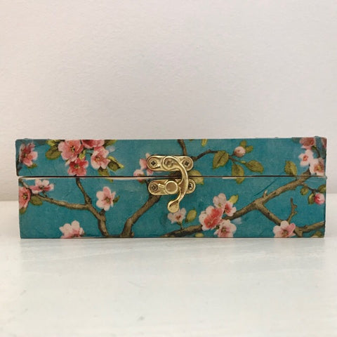 Blossom and Bird Design Wooden Keepsake Box - Palm Pot & Peony