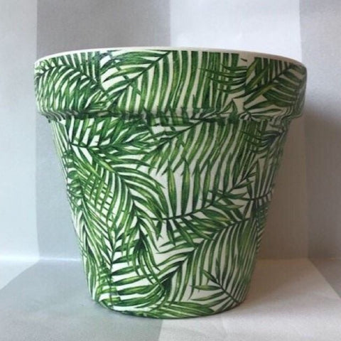 Green Palm Leaf Terracotta Large Plant Pot