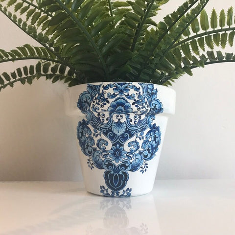 Blue and White Damask Terracotta Plant Pot 13cm - Palm Pot & Peony