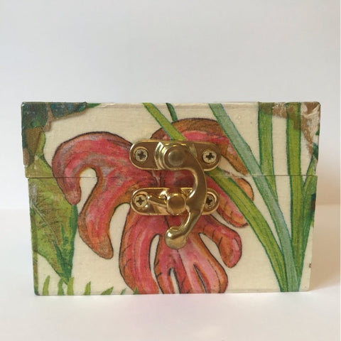 Bright Tropical Palm Leaf Wooden Keepsake Box - Palm Pot & Peony