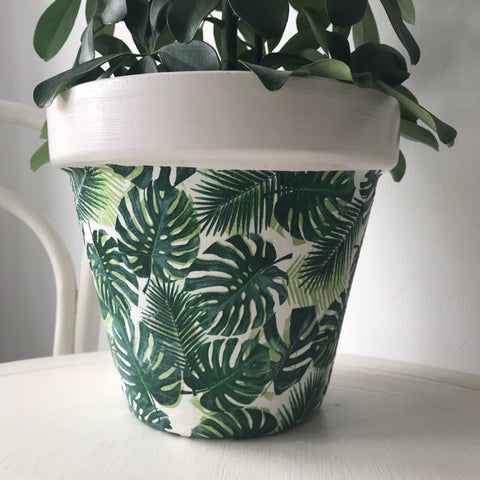 Palm Leaves and White Terracotta Pot 21cm - Palm Pot & Peony