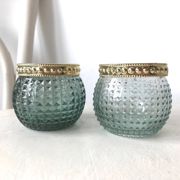 Turquoise Gem Candle Tealight Holders Set of 2