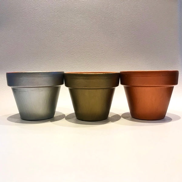 Metallic Silver Copper Bronze Mini Cactus Pots 6cm - Palm Pot & Peony