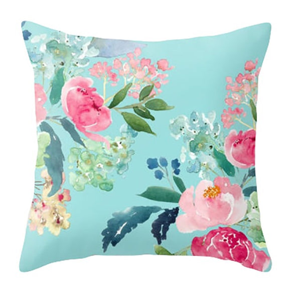 Turquoise & Pink Floral Cushion Cover
